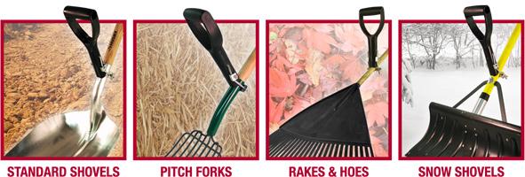 Standard Shovels, Pitch Forks, Rakes and Hoes, Snow Shovels